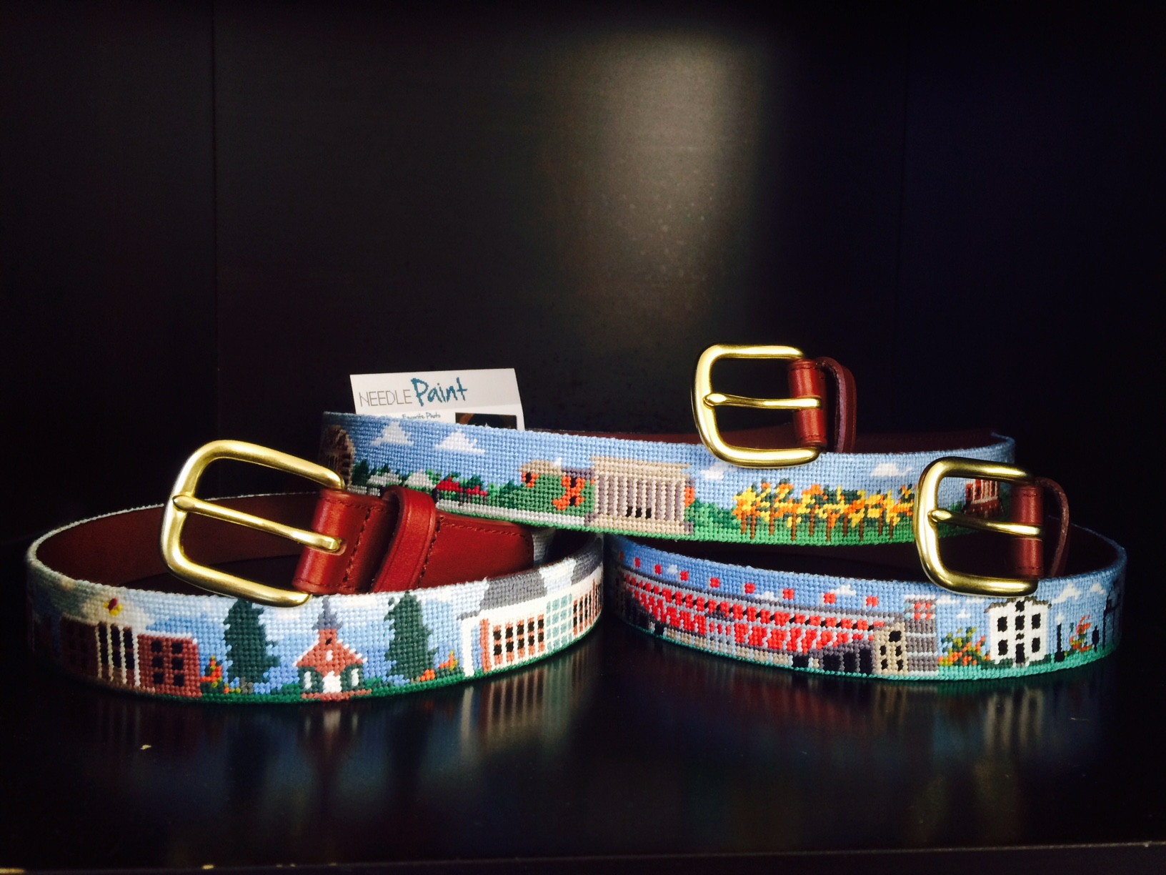 University of Georgia - Washington and Lee - University of Alabama - Needlepoint Belts