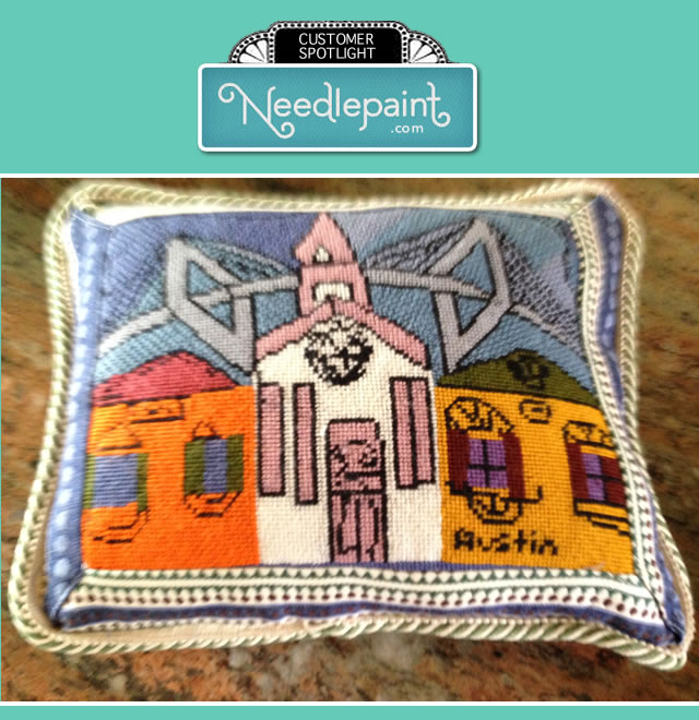 Needlepoint Childrens Art Pillow
