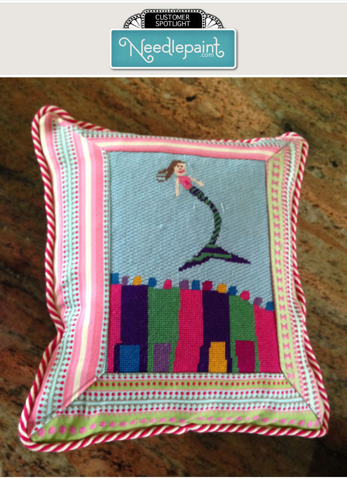 Needlepoint Kids Art Pillow