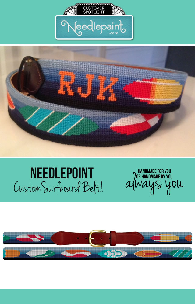 Surfboard Needlepoint Belt