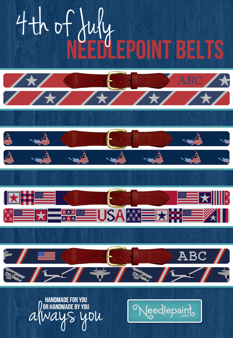 4th of July Needlepoint Belts