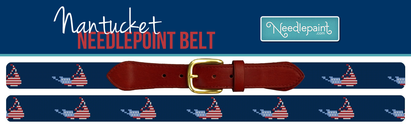 Nantucket Needlepoint Belt