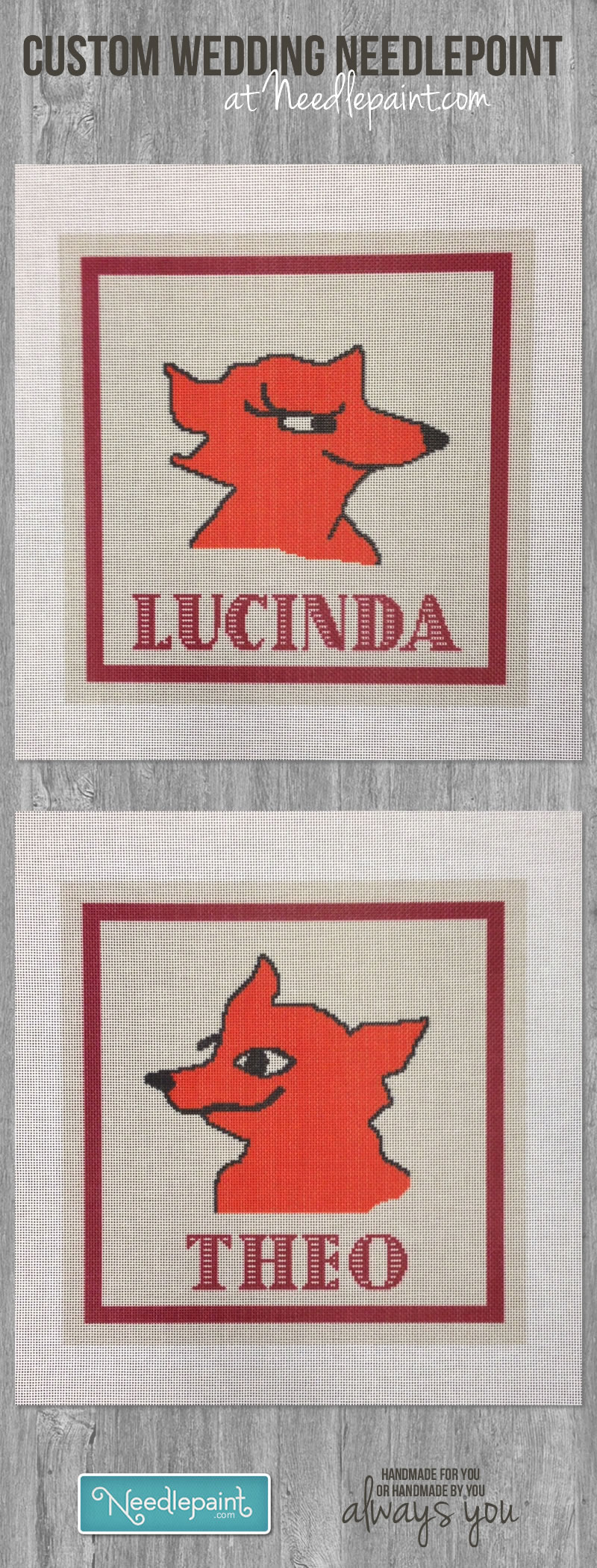 Wedding Needlepoint Foxes