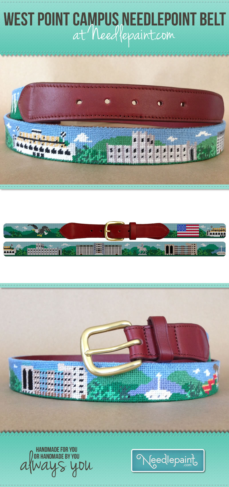 West Point Needlepoint Belt