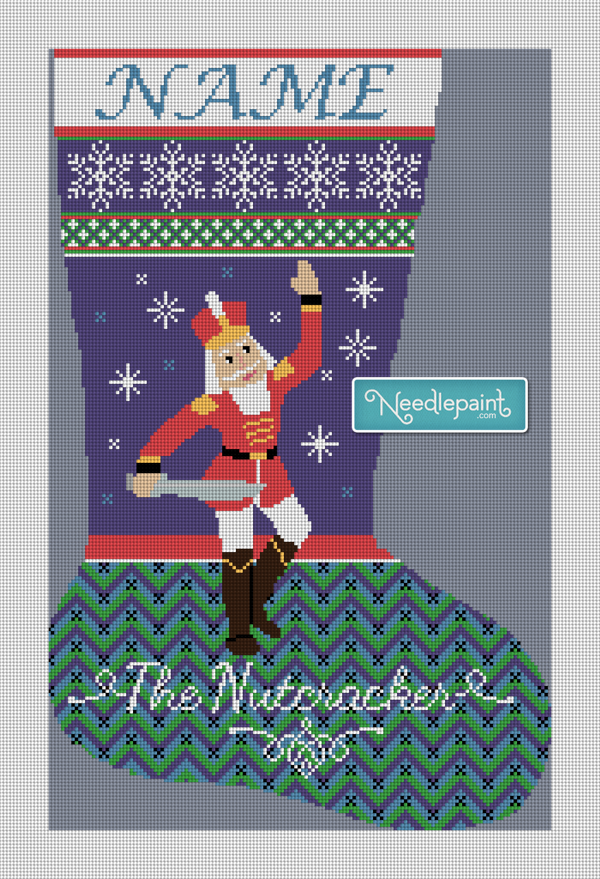 Nutcracker Prince Needlepoint Christmas Stocking