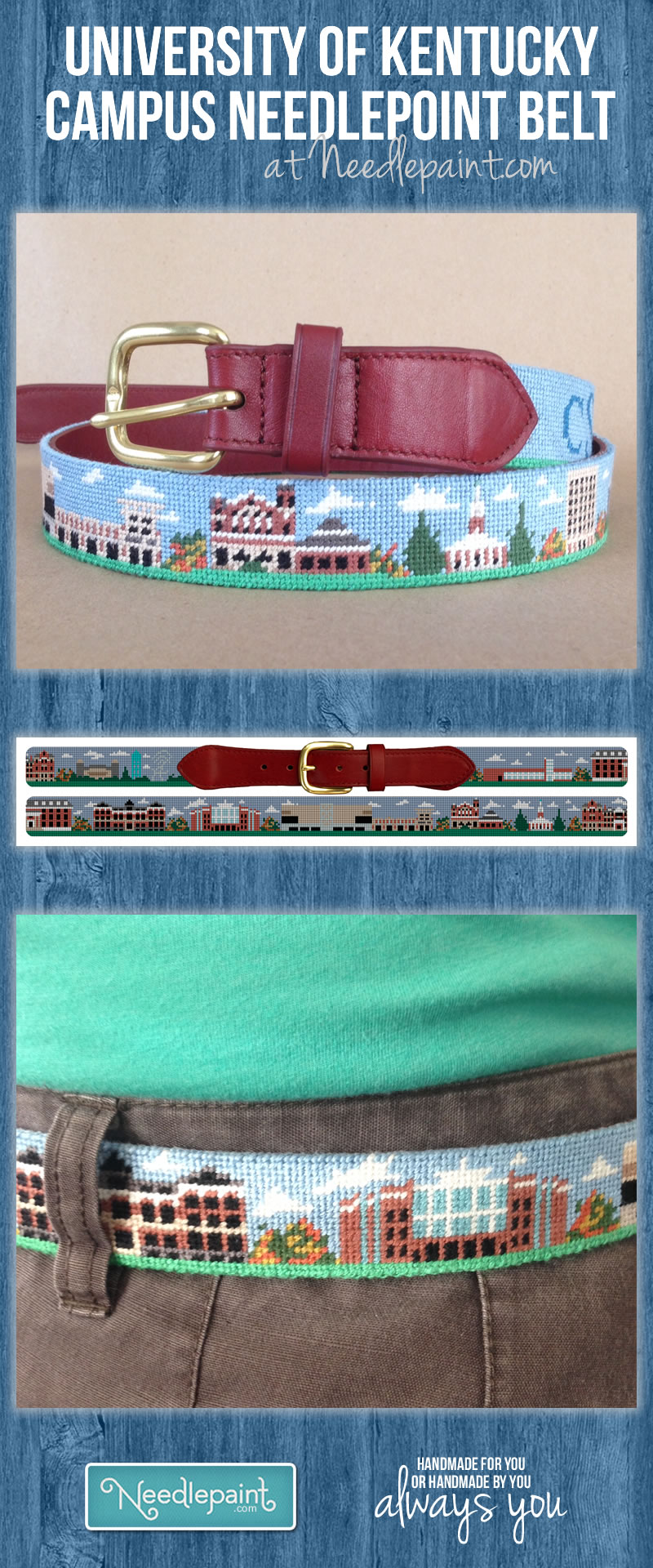 University of Kentucky Needlepoint Belt