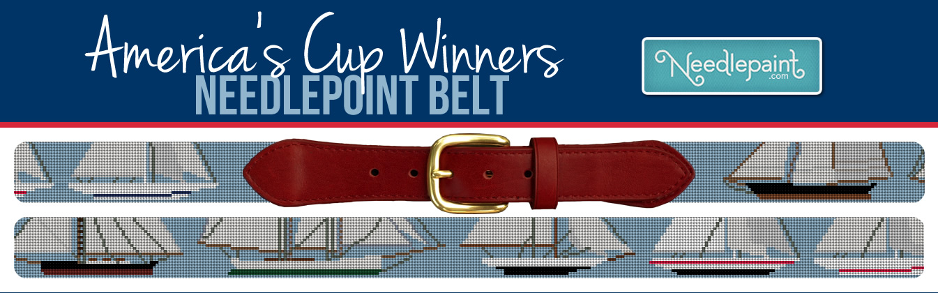 Americas Cup Needlepoint Belt