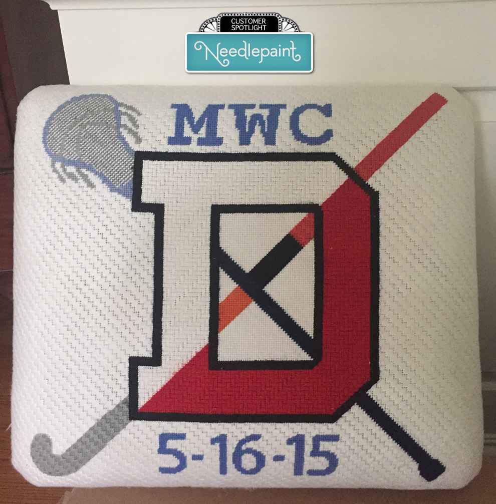 Denison Field Hockey and Lacrosse Needlepoint Stool