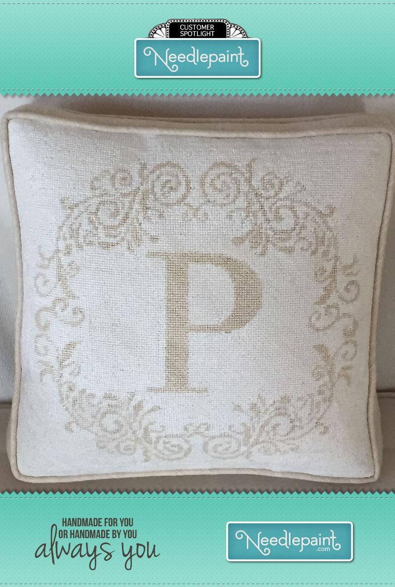 Needlepoint Letter Box Pillow