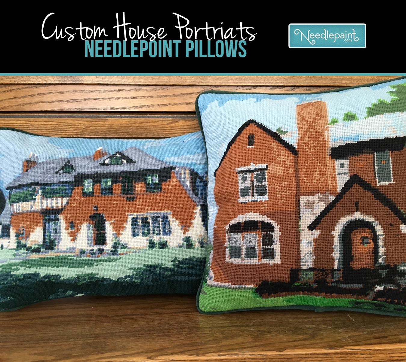 Custom House Needlepoint Pillow