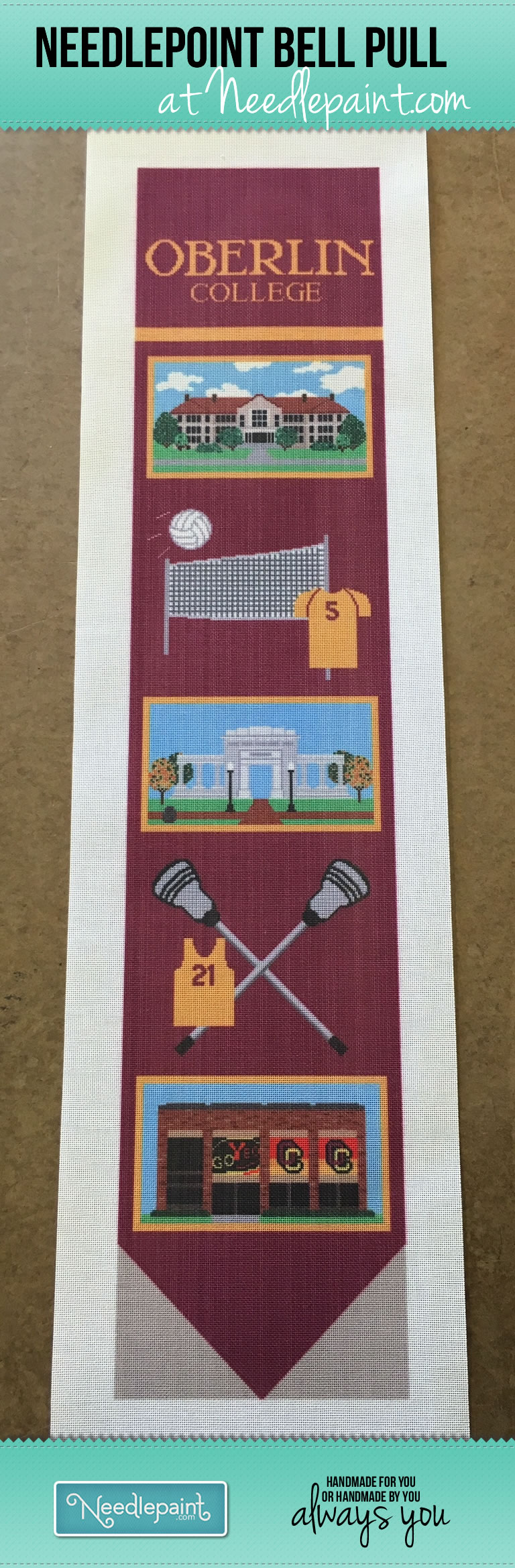 Custom Needlepoint College Bell Pull Oberlin College