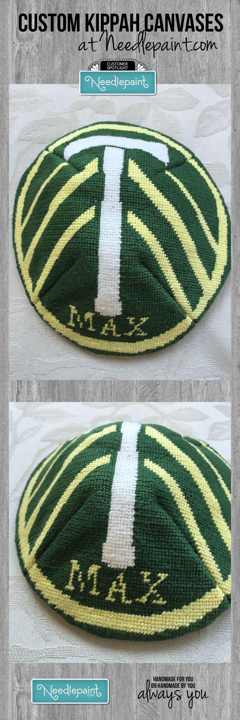 Custom Needlepoint Kippah Yarmulke