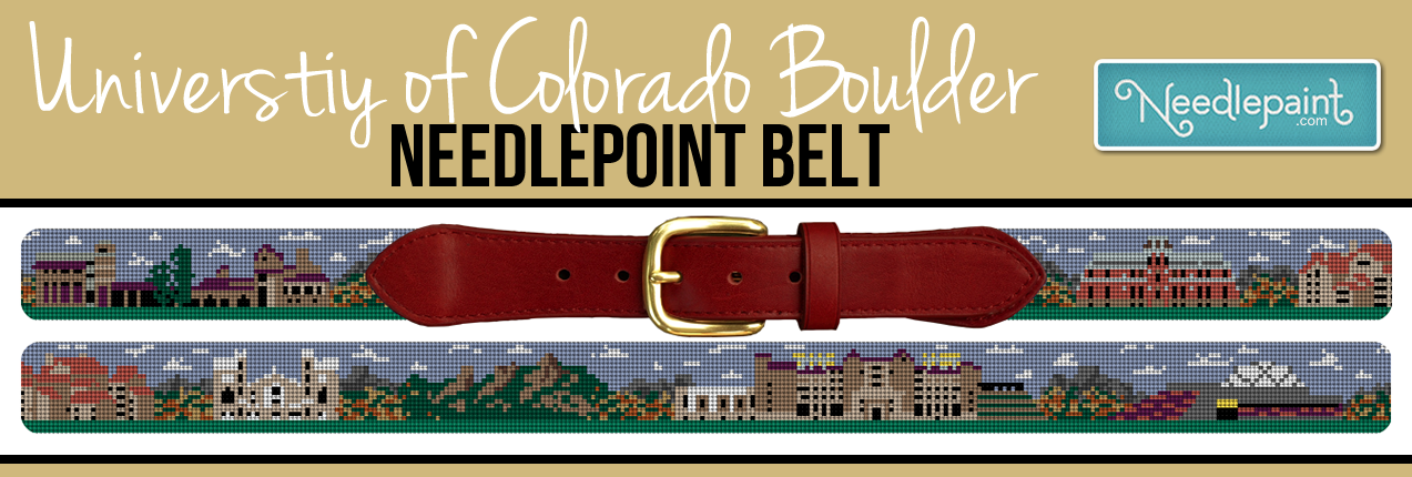 University of Colorado Boulder Needlepoint Belt