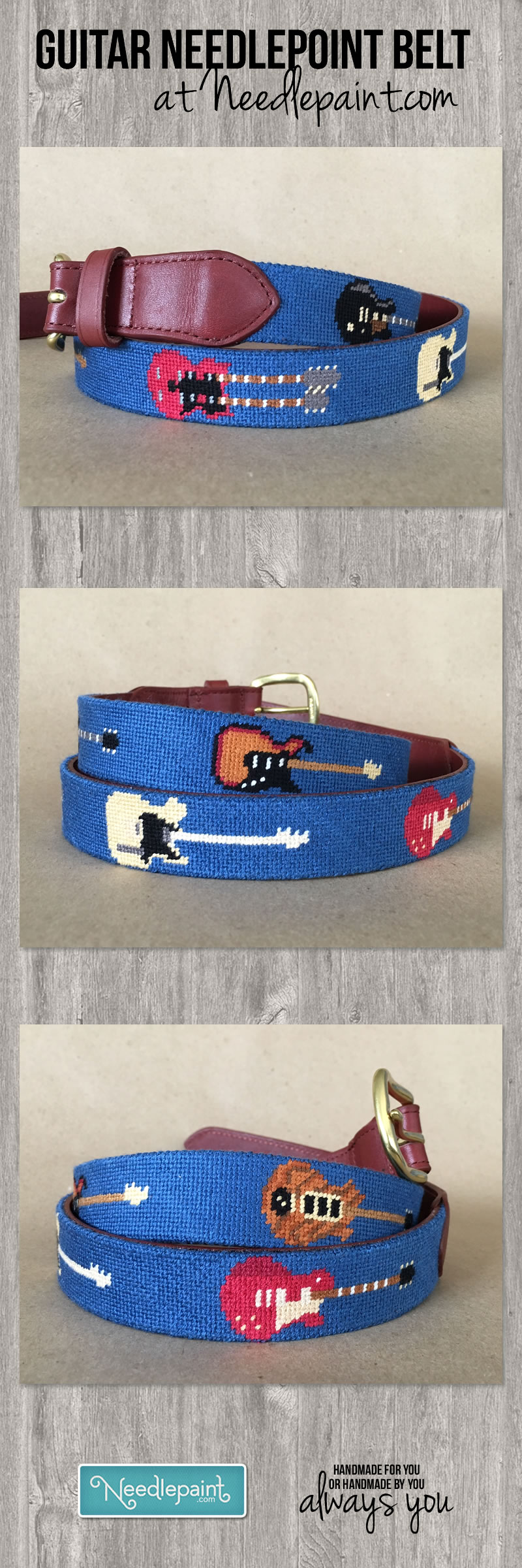 Guitar Rock and Roll Needlepoint Belt