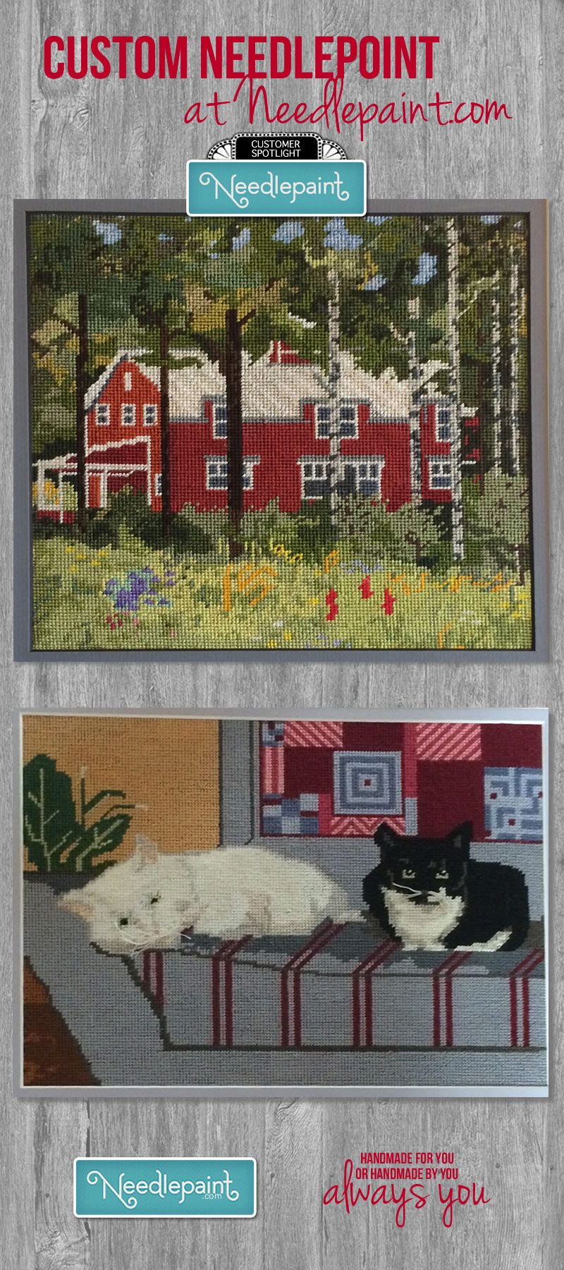 Custom Needlepoint House and Cats