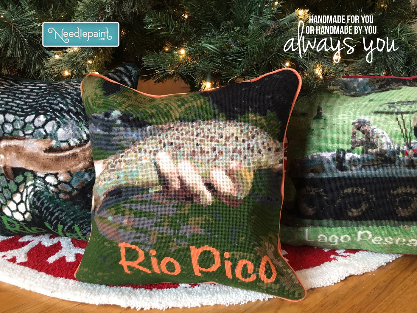 Needlepoint Fishing Pillows