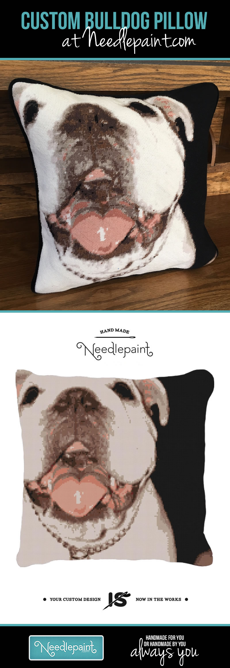 Custom Bulldog Needlepoint Pillow