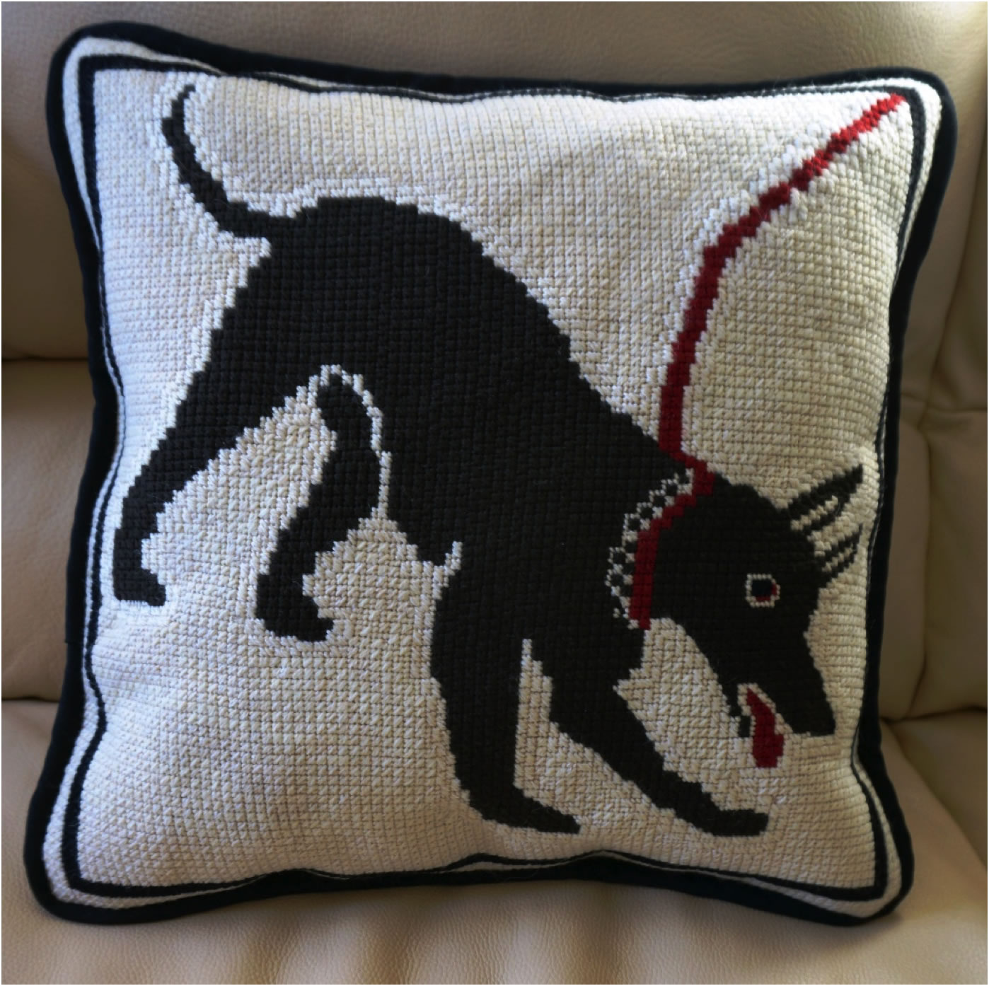 Guard dog from the House of Orpheus Needlepoint Pillow - Finished!