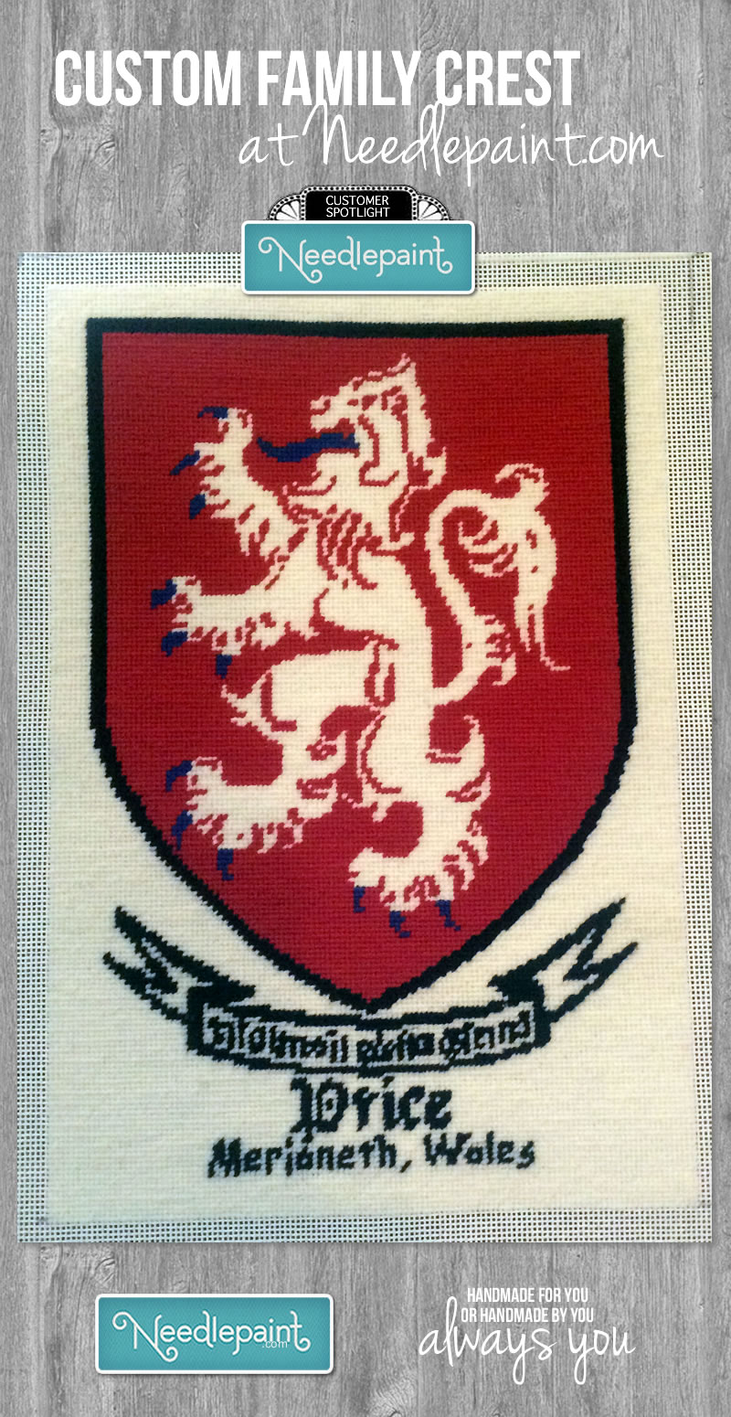Price Family Crest Custom Needlepoint Canvas