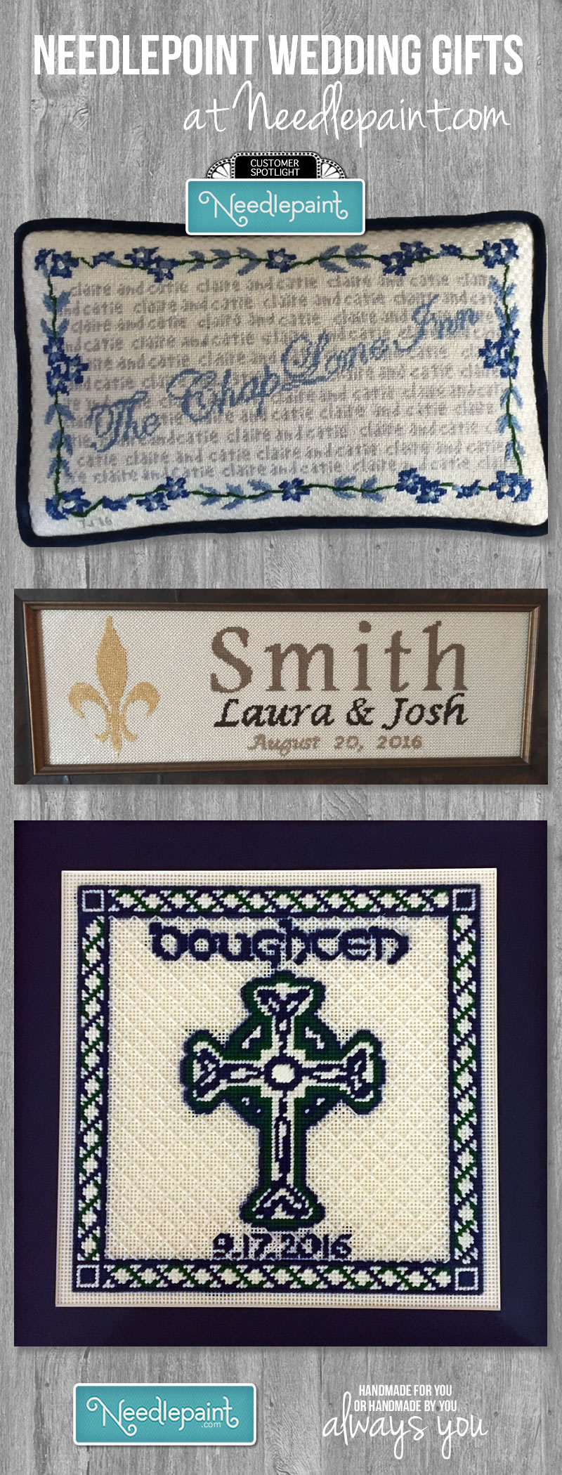 Wedding Family Name Gift Needlepoint
