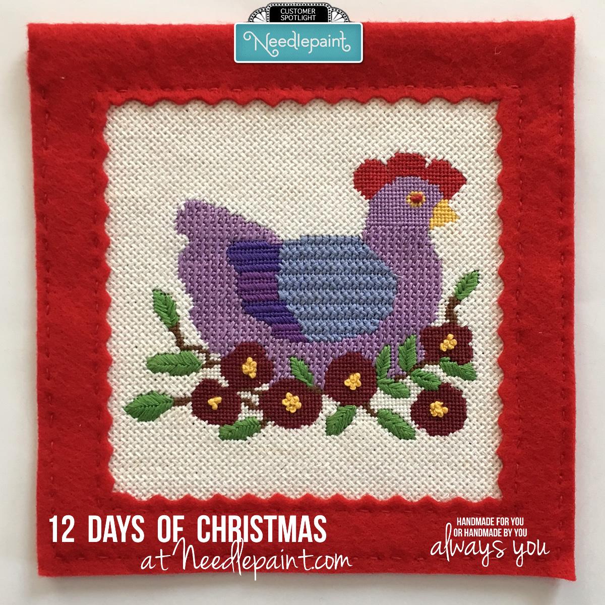 French Hen Needlepoint Kit with Stitch Chart