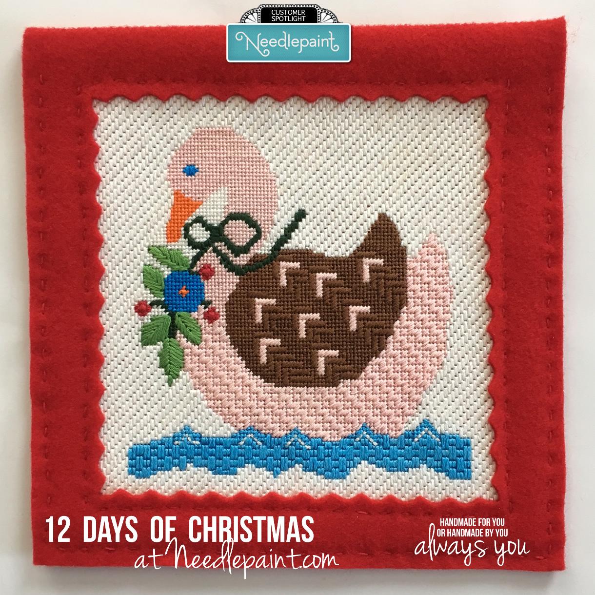 Seven Swans o-Laying Christmas Needlepoint Kit