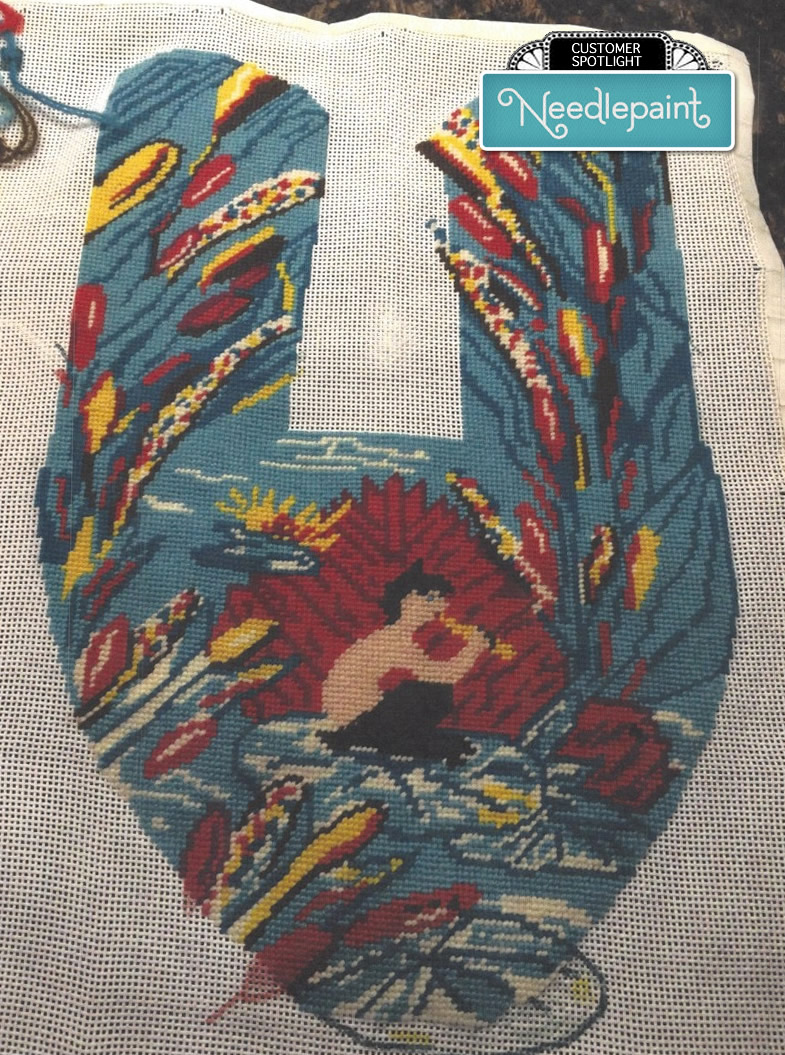 Needlepoint Slippers Template Stitched