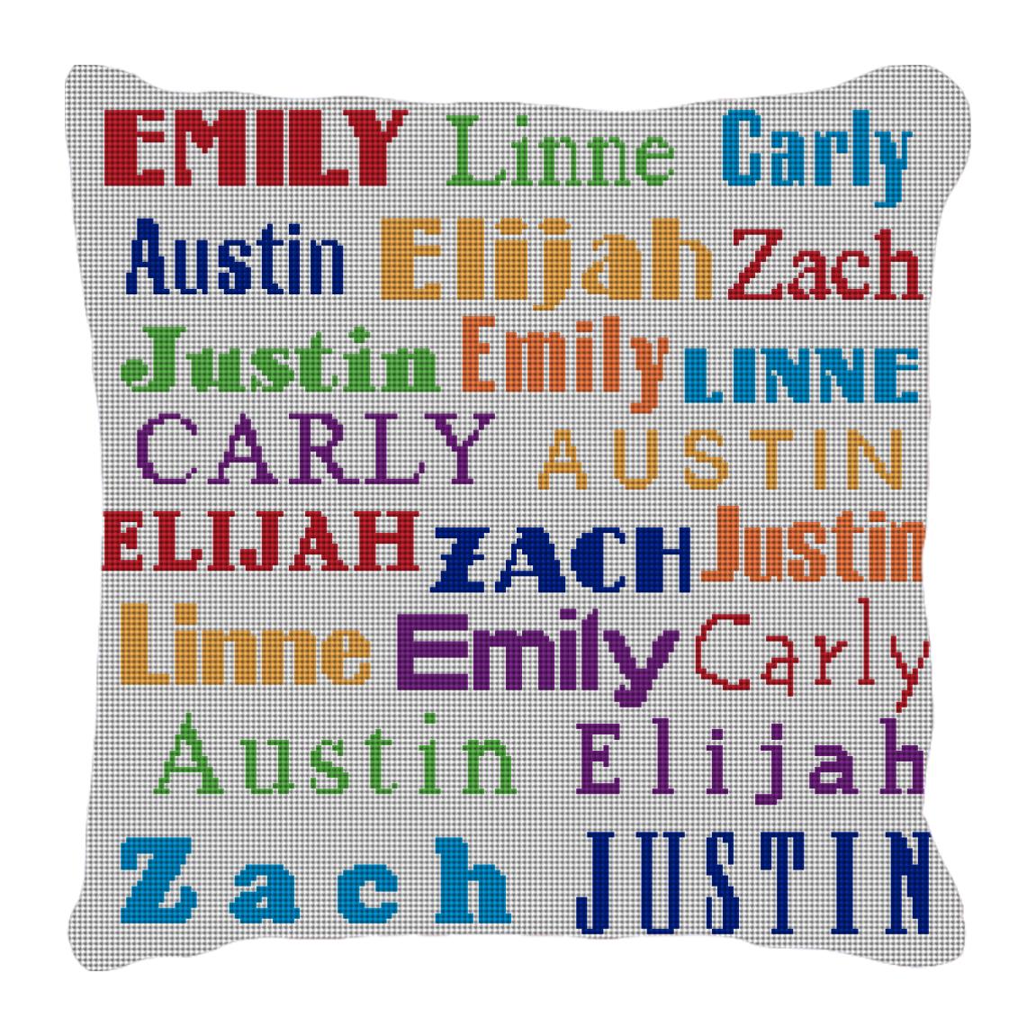 Image of Grandkids' Names Needlepoint Pillow