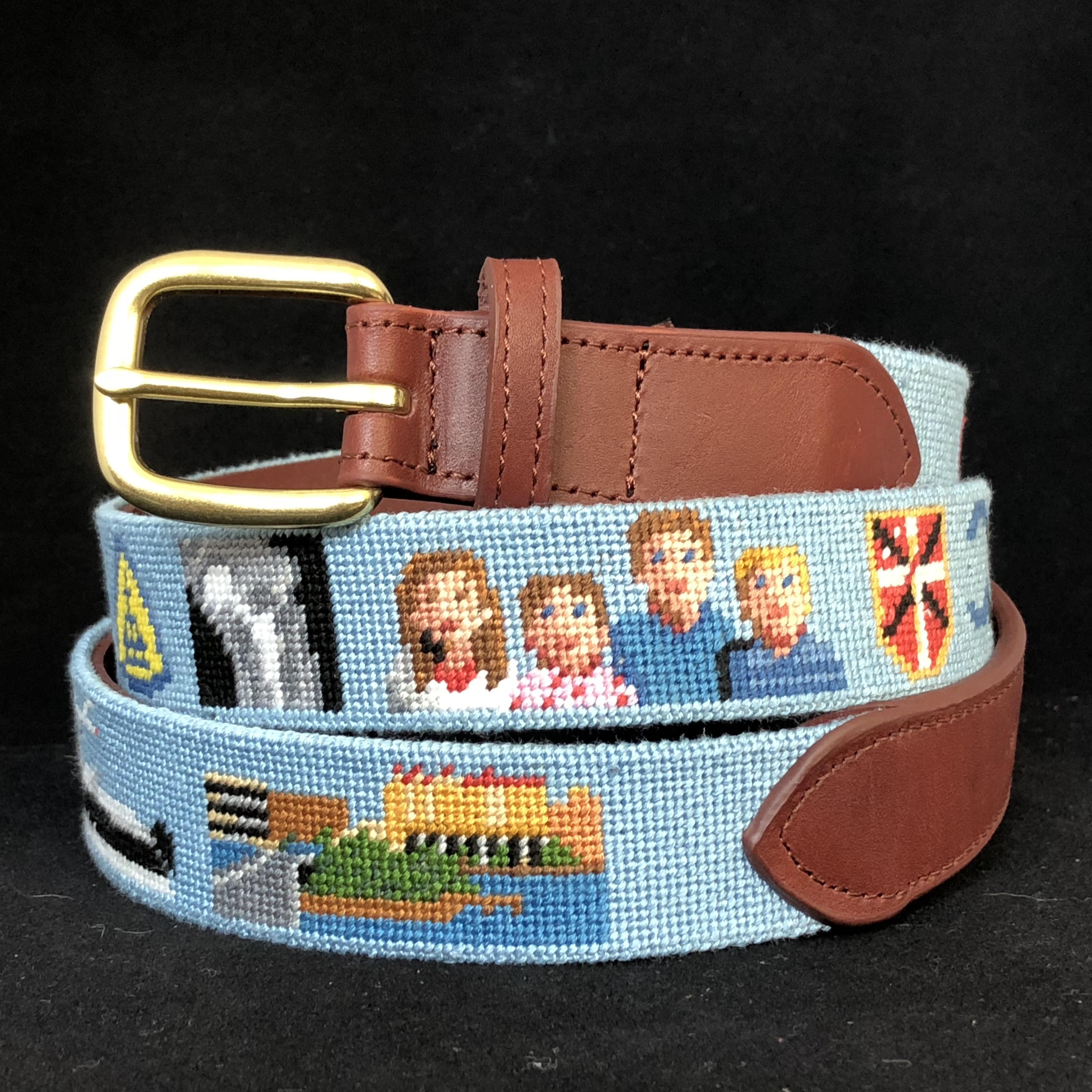 Image of Grandparents Custom Needlepoint Belt Featuring the Grandkids