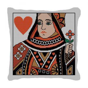 Queen of Heart Needlepoint Pillow