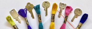 embroidery floss and keys