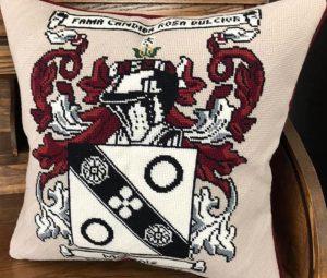 NeedlePaint family crest pillow