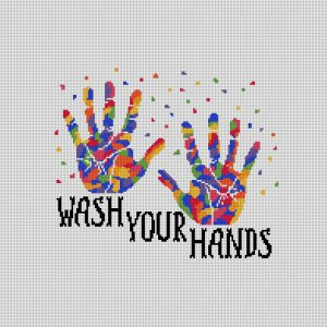 Wash Your Hands Handprints Needlepoint Canvas