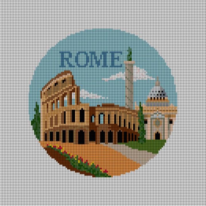 Rome Travel Destination Needlepoint Ornament