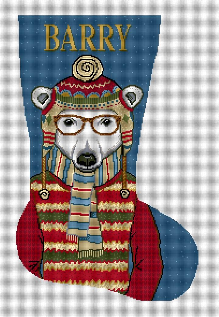 Gentleman Polar Bear Needlepoint Stocking Canvas
