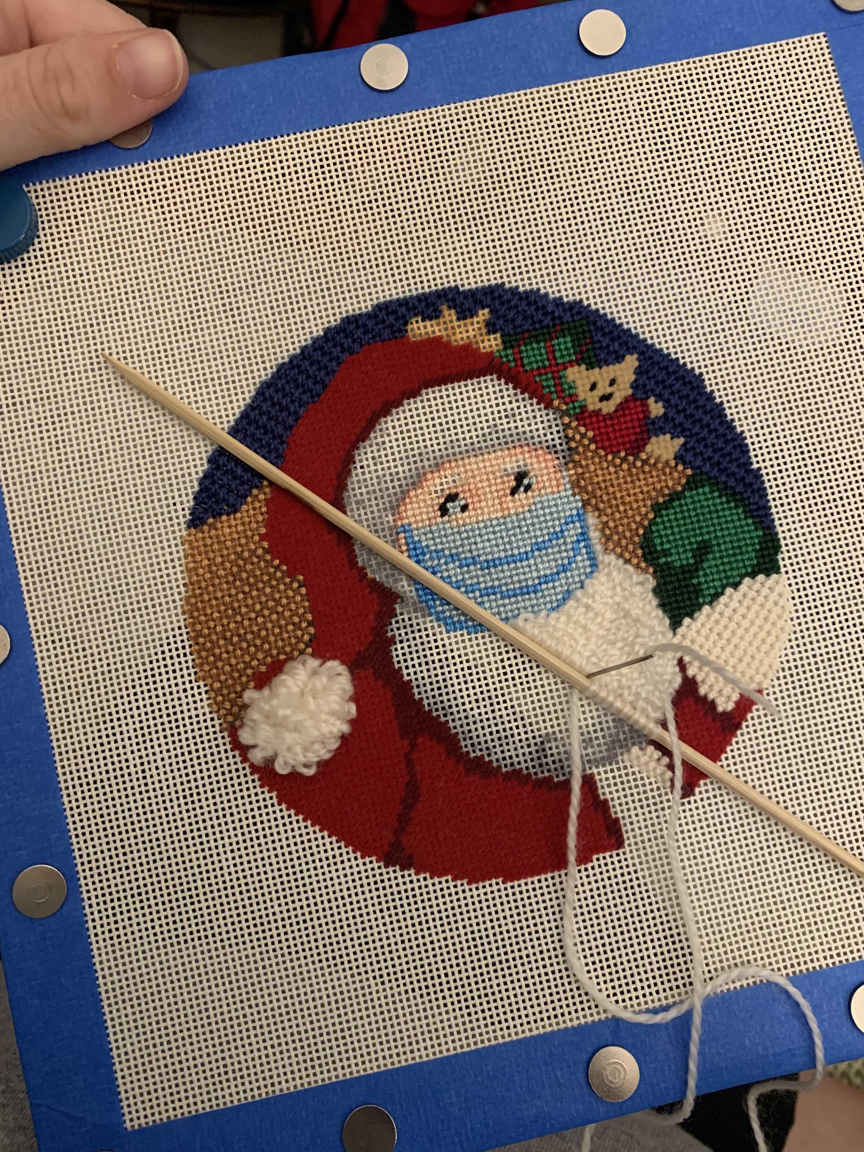NeedlePaint Santa's X Mask Ornament.3