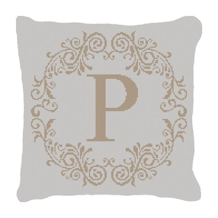 Rochelle Letter Needlepoint Pillow Canvas
