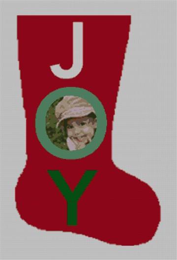 Joy Photo Needlepoint Christmas Stocking Canvas