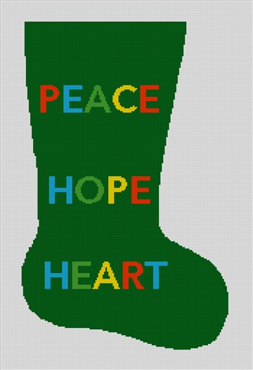 Needlepoint Christmas Stocking Canvas - Peace