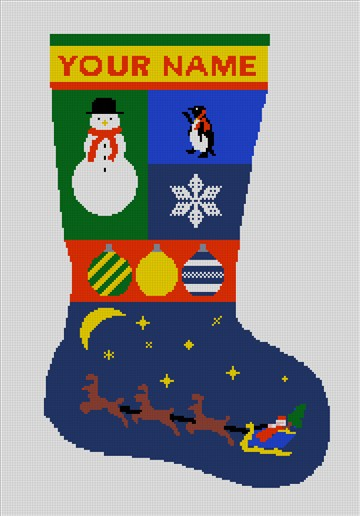 Personalized Santa Needlepoint Stocking Canvas
