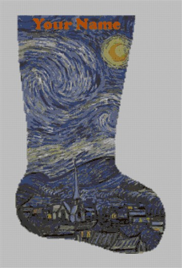 Starry Night Van Gogh Needlepoint Stocking Canvas