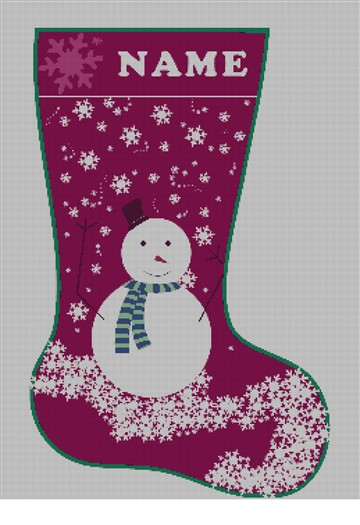 Personalized Snowman Needlepoint Canvas