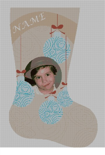 Needlepoint Photo Ornaments Stocking Canvas