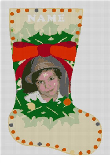 Needlepoint Christmas Photo Holiday Stocking