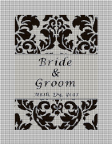 Black Damask Personalized Needlepoint Canvas