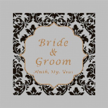 Square Damask Wedding Ring Bearer Pillow Canvas