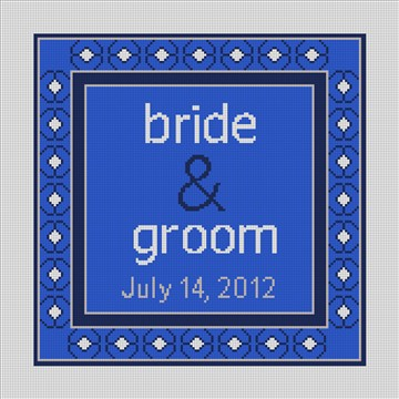 Blue Spice Timeless Wedding Needlepoint Canvas