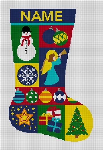 Personalized Needlepoint Stocking Mosaic