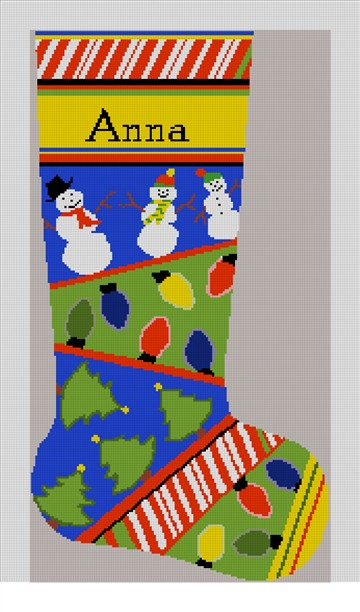 Christmas Lights Needlepoint Stocking