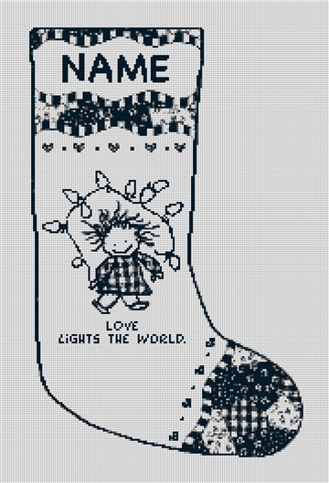 Love Lights the World Needlepoint Stocking Canvas